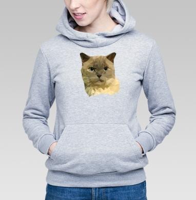 Толстовка Женская серый меланж 340гр, теплая - Полигональный кот