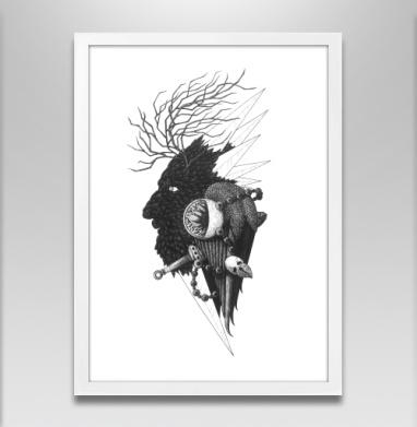 Черно-белая звезда деревянная - Постер в белой раме, деревья