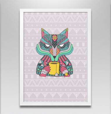 Волчек и чаек - Постер в белой раме, этно