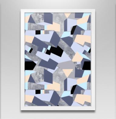 Геометрия цвета, оттенки сиреневого - Постер в белой раме, геометрия
