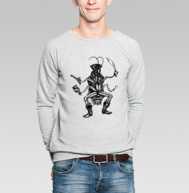 Капитан Джек-таракан - Купить мужские свитшоты с насекомыми в Москве, цена мужских свитшотов с насекомыми  с прикольными принтами - магазин дизайнерской одежды MaryJane