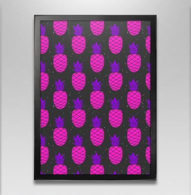 Космический ананасовый паттерн - Постер в чёрной раме, фрукты