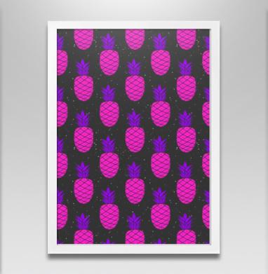 Космический ананасовый паттерн - Постер в белой раме, паттерн