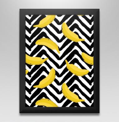Желтые бананы - Постер в чёрной раме