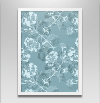 Гортензия в голубом - Постер в белой раме, красота