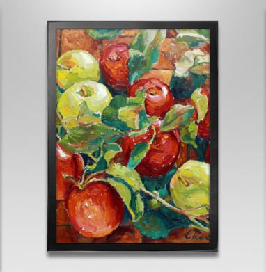 Яблочный спас - Постер в чёрной раме, фрукты