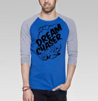 Бегущий за мечтой - Футболка мужская с длинным рукавом синий / серый меланж, борода, Популярные