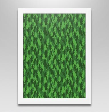 Хвойный лес, Постер в белой раме