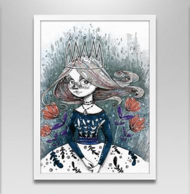 Цветы цветут внутри меня - Постер в белой раме, серый