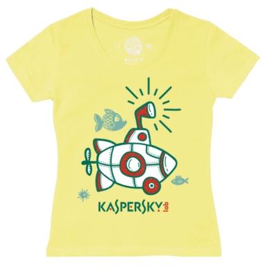 Футболка женская желтая - Батискаф Касперского
