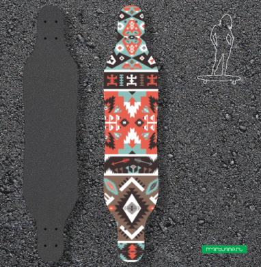 Декоративный этнический мексиканский узор - Наклейки на лонгборд
