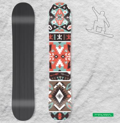 Декоративный этнический мексиканский узор - Наклейки на доски - сноуборд, скейтборд, лыжи, кайтсерфинг, вэйк, серф