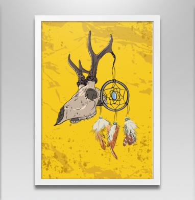 Череп и ловец снов  - Постер в белой раме, индеец