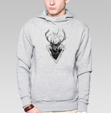 Толстовка мужская, накладной карман серый меланж - Ред стаг