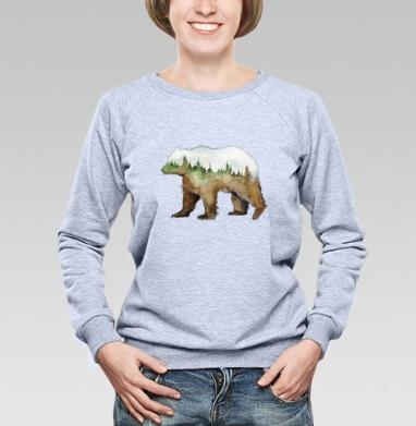 Лесной медведь - Купить женские свитшоты с природой в Москве, цена женских свитшотов с природой  с прикольными принтами - магазин дизайнерской одежды MaryJane