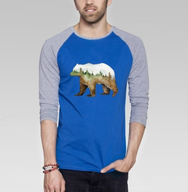 Лесной медведь - Футболка мужская с длинным рукавом синий / серый меланж, акварель, Популярные