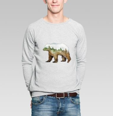 Лесной медведь - Купить мужские свитшоты с акварелью в Москве, цена мужских свитшотов с акварелью  с прикольными принтами - магазин дизайнерской одежды MaryJane