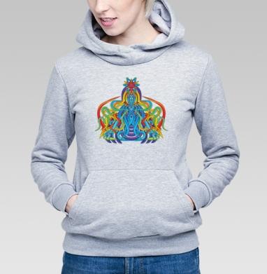 Активная медитация - Толстовка Женская серый меланж 340гр, теплый, психоделика, Популярные