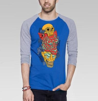 Тотем.jpg - Футболка мужская с длинным рукавом синий / серый меланж, текстура, Популярные