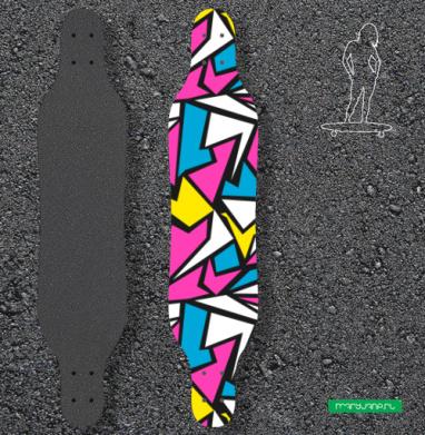 Абстрактный паттерн в стиле восьмидесятых - Наклейки на лонгборд