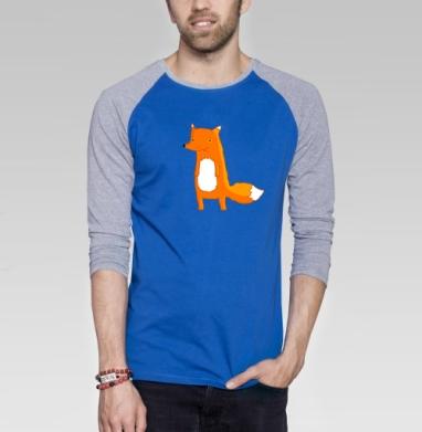 Fox - Футболка мужская с длинным рукавом синий / серый меланж, Мило