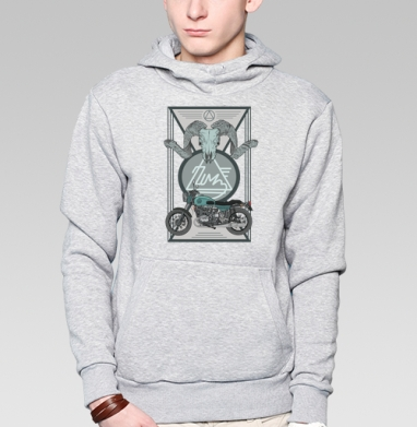 Толстовка мужская, накладной карман серый меланж - УРАЛ МОТО