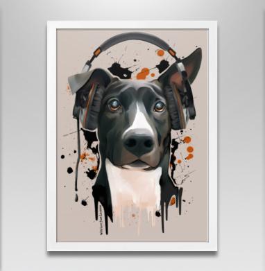 Пёс меломан - Постер в белой раме, собаки