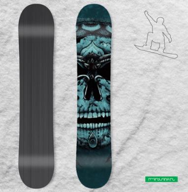 Череп и цветы - Сплошные наклейки сноуборд c черепами