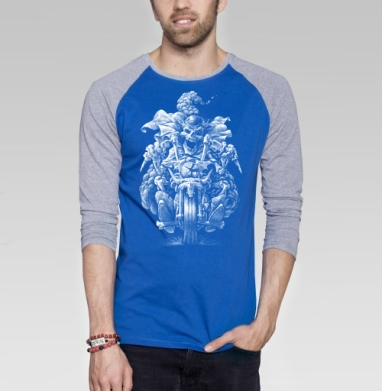 Призрачный гонщик - Футболка мужская с длинным рукавом синий / серый меланж, череп, Популярные
