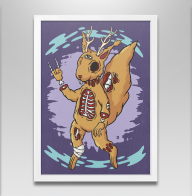 Зомби-белка - Постер в белой раме, татуировки