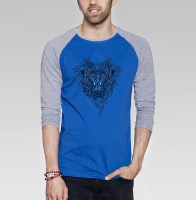 Тигр гривастый - Футболка мужская с длинным рукавом синий / серый меланж, лицо, Популярные