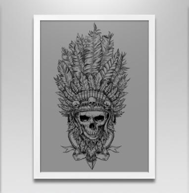 Вождь и перья - Постер в белой раме, лицо