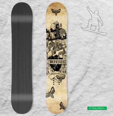 В моем сердце ... - Наклейки на доски - сноуборд, скейтборд, лыжи, кайтсерфинг, вэйк, серф