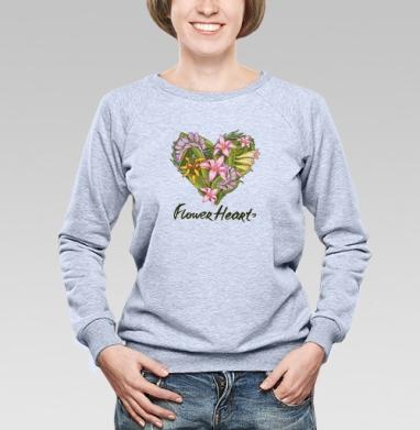 Сердце из тропических растений - Купить детские свитшоты с любовью в Москве, цена детских свитшотов с любовью  с прикольными принтами - магазин дизайнерской одежды MaryJane