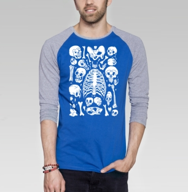 Суповой Набор - Черепа да Кости - Футболка мужская с длинным рукавом синий / серый меланж, череп, Популярные