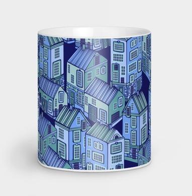 Текстура с голубыми домиками - город, Новинки
