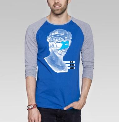 Старые мертвые боги - Футболка мужская с длинным рукавом синий / серый меланж, череп, Популярные