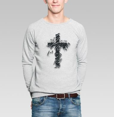 Крест во всю грудь - Купить мужские свитшоты с татуировками в Москве, цена мужских свитшотов с татуировками  с прикольными принтами - магазин дизайнерской одежды MaryJane