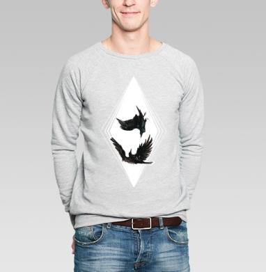 Crows falling in love - Купить мужские свитшоты с птицами в Москве, цена мужских свитшотов с птицами  с прикольными принтами - магазин дизайнерской одежды MaryJane