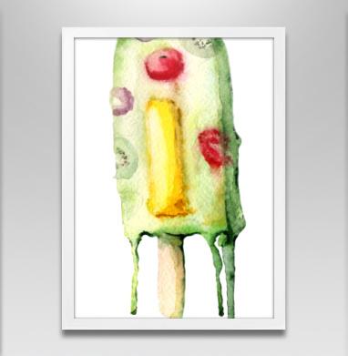 Замороженная Ай - Постер в белой раме, мороженое