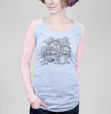 Голодный дракон - Футболка женская с длинным рукавом серый меланж/розовая