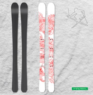 Голодный дракон - Наклейки на лыжи