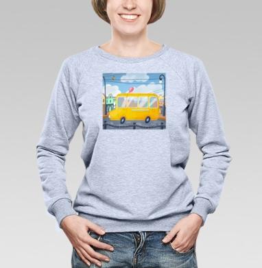 Желтый сити-бас - Купить женские свитшоты с автомобилями в Москве, цена женских свитшотов с автомобилями  с прикольными принтами - магазин дизайнерской одежды MaryJane