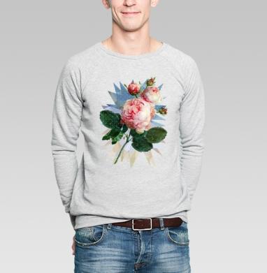 Розовая роза на геометрическом фоне - Купить мужские свитшоты с живописью в Москве, цена мужских свитшотов с живописью  с прикольными принтами - магазин дизайнерской одежды MaryJane