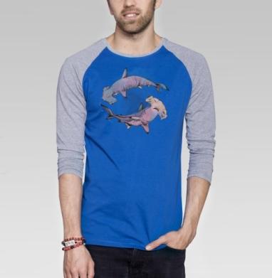 Акварельные Монстры Акулы - Футболка мужская с длинным рукавом синий / серый меланж, акварель, Популярные