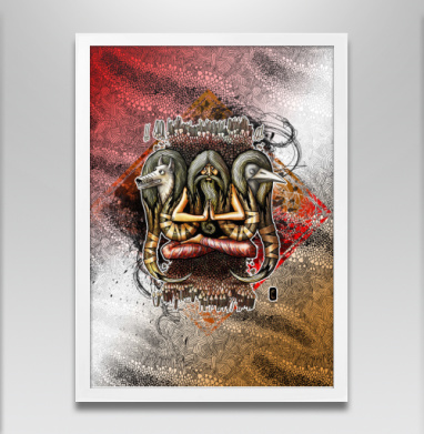Шаман с тотемными животными - Постер в белой раме, волк