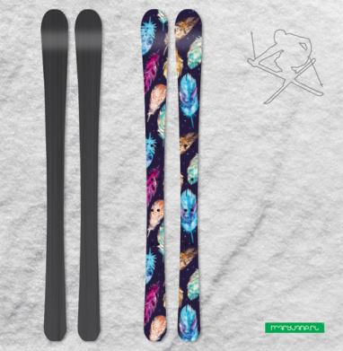 Темные акварельные перья - Наклейки на лыжи