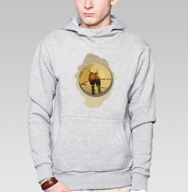 Толстовка мужская, накладной карман серый меланж - Сладкая парочка птицы