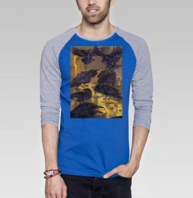 Семь воронов - Футболка мужская с длинным рукавом синий / серый меланж, акварель, Популярные