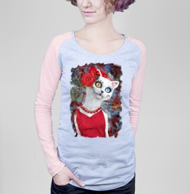 Белая кошка ко дню мертвых - Футболки с длинным рукавом женские. Новинки